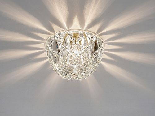 Diyas IL31843CH Ria G9 Diamond Faceted Round Downlight Polished Chrome Crystal 10.5cm Diameter