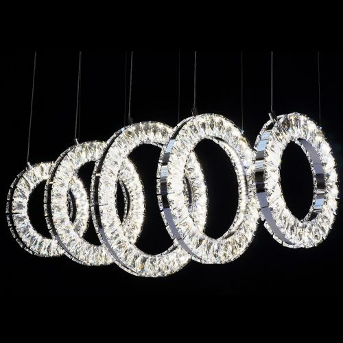 KES Olympic 500/9 LED Modern Crystal 5 Ring Ceiling Pendant Chrome Dimmable