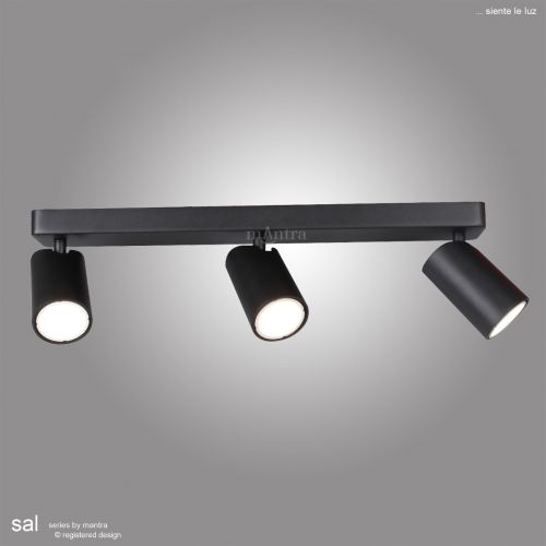 Mantra Sal Linear Bar 3 Light Spotlight GU10 Matt Black M6711