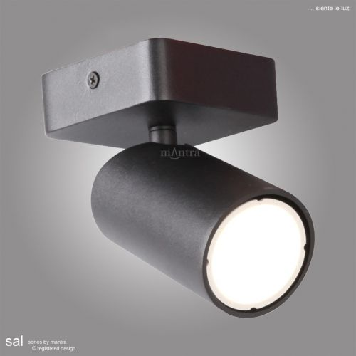 Mantra Sal 1 Light Spotlight GU10 Matt Black M6713