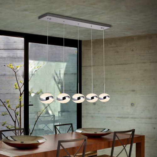 Schuller Lipse 377523 LED Crystal 5 Light Bar Ceiling Pendant Chrome Frame