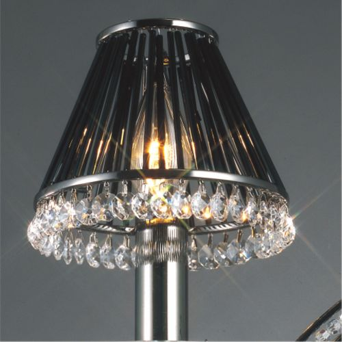 Diyas IL30900 Crystal Clip-On Shade Black Glass Rods Black Chrome Crystal