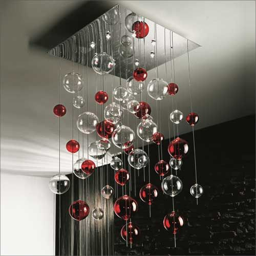 Sil LUX Niagara Modern Flush With Clear And Red Glass Drops SP H/236
