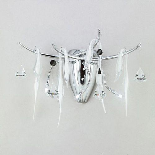 Diyas IL50421 Cygnet Wall Lamp 3 Light Polished Chrome White Glass Crystal