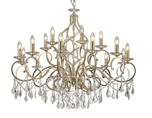 Diyas IL303212+6 Torino Crystal 18 Light Chandelier French Gold Frame