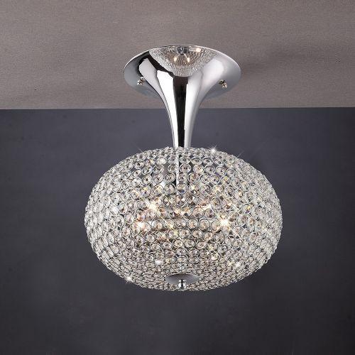 Diyas IL30416 Vado Semi Flush Ceiling 5 Light Polished Chrome Crystal