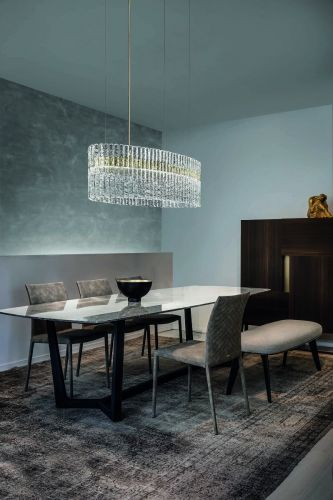 Masiero Vegas LED Glass Bar Pendant Champagne Leaf MAS/VEGAS-S-OV-120