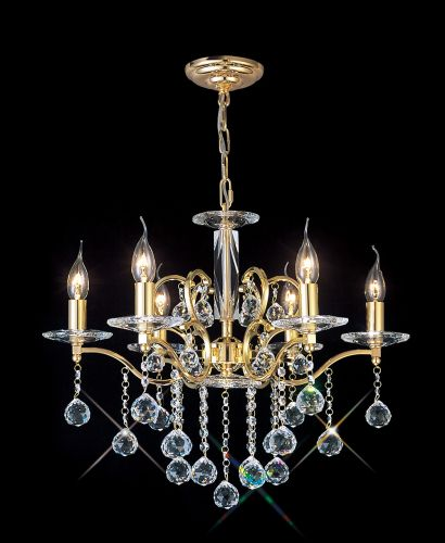 Diyas IL30226 Zinta Crystal 6 Light Chandelier French Gold Frame