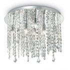 Ideal Lux Royal 052991 Crystal Ceiling Flush 8 Light Chrome