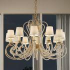 Masiero Cristalis Ceiling Large 115cm Pendant 12 x E14 Brushed Brass CRISTALIS-12-G18