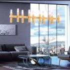 Kolarz Spigolo 10 Light Linear Bar Pendant Gold Leaf 6030.81031