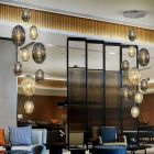 Schuller Ovila 752367 9 Light LED Ceiling Pendant Chrome Cognac Smoky Grey
