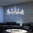 Kolarz Spigolo 10 Light Ceiling Chandelier Silver Leaf 6030.81050