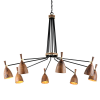 Corbett Utopia Ceiling Large Multi-Arm Pendant 8 x E27 Brass / Wood 280-08-CE