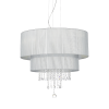 Ideal Lux 122601Opera Crystal 6 Light Pendant Silver ShadePolished Chrome Frame