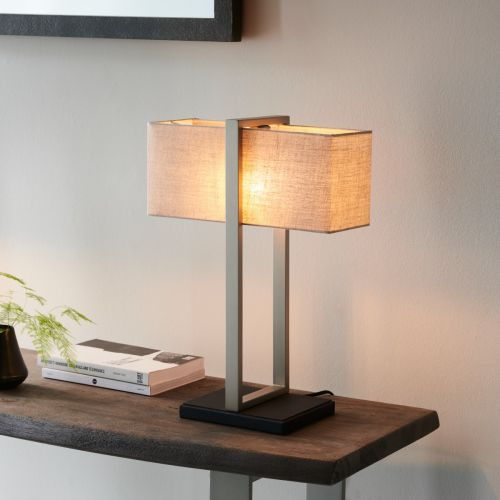 Table Lamp Satin Nickel With Natural Shade Seattle REG/505169