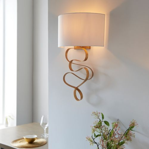 Wall Light Gold Leaf With Ivory Shade Allora REG/505167