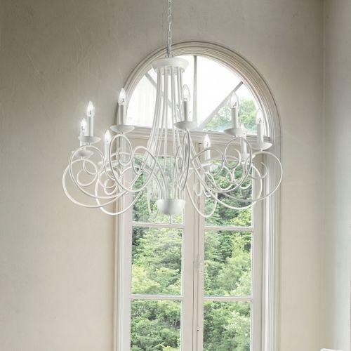 Ideal Lux 100432 Sem 10 Light Chandelier White Frame