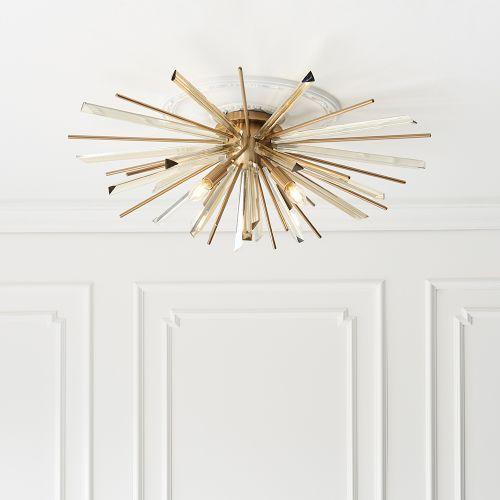 Flush Ceiling Fitting 4 Light Champagne And Antique Brass Genoa REG/505020