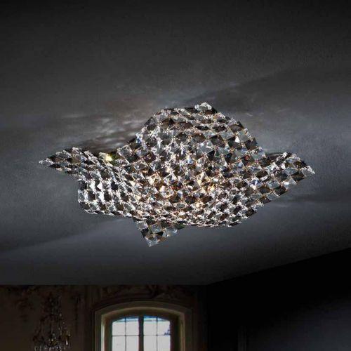 Schuller Saten 160563 Crystal Ceiling Flush 4 Light Fitting Chrome
