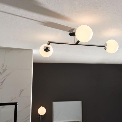Semi-Flush 3 Light Bathroom Fitting IP44 Opal Glass Shades Polished Chrome Spa REG/505176