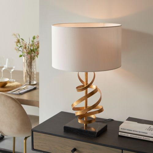 Table Lamp Gold Leaf With Ivory Shade Allora REG/505168