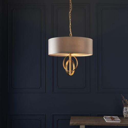 Ceiling Pendant Light Gold Leaf with Large Mink Shade Faro REG/505142