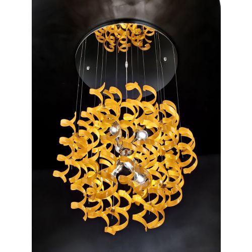 Metal Lux Astro 6 Light Orange Glass Pendant 206.175.12