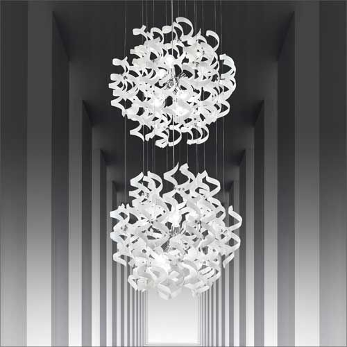 Metal Lux Astro 12 Light Double Pendant Fitting Glass Spirals 206.176.02