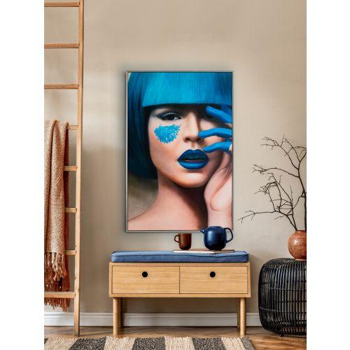 Blue Printed Canvas Wall Art