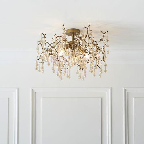 Semi-Flush Ceiling Pendant 3 Light Aged Gold Turin REG/505014