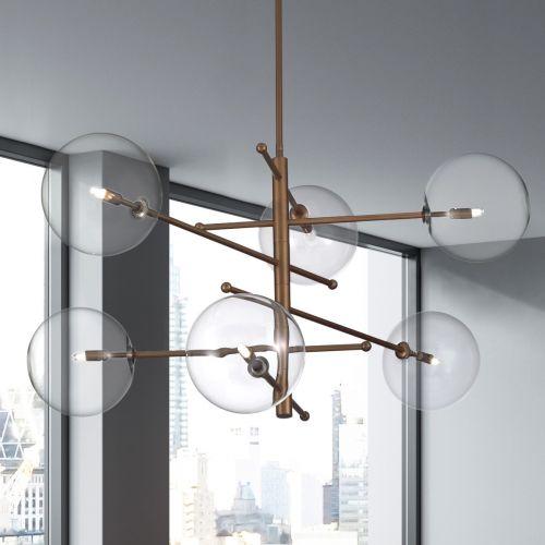 Metal Lux Estro Ceiling Multi-Arm Pendant 6 x G9 Burnished Bronze 267.160.04