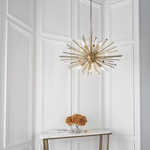 Ceiling Pendant 8 Light Fitting Champagne And Antique Brass Genoa REG/505018