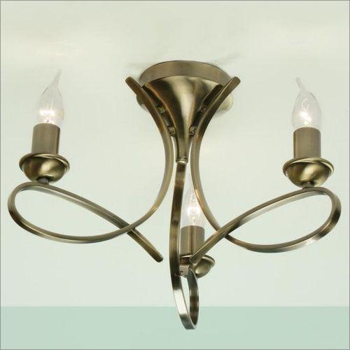 Interiors 1900 Penn 3 Light Brushed Brass Flush Fitting CA7P3BB