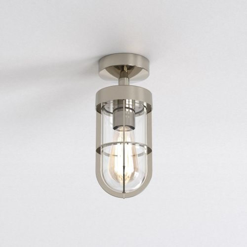 Astro Cabin Semi Flush Outdoor Ceiling Light in Polished Nickel 1368001