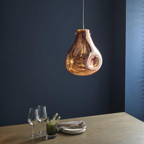 Glass Ceiling Pendant Light Fitting Metallic Copper Glass Valletta REG/505061