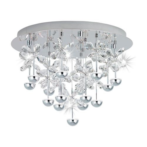 Eglo Ceiling Light 15 Light Chrome/Crystal Pianopoli 39245