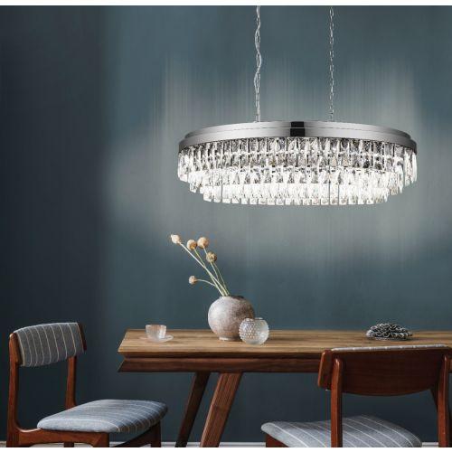 Eglo Pendant 10 Light E14 Chrome/Crystals Valparaiso 1 39494