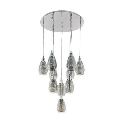 Eglo Ceiling Light E27 10 Light Pendant Smoked Glass Siracusa 39506