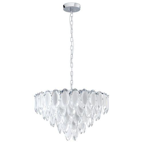 Eglo Pendant 10 Light E14 Chrome Sat/Clear Carvario 39722