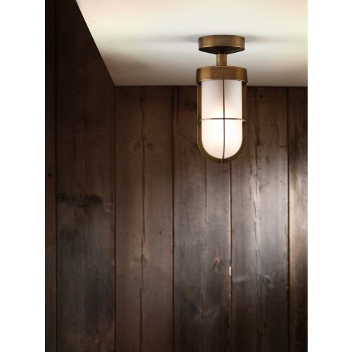 Astro Cabin Semi Flush Frosted Outdoor Ceiling Light in Antique Brass 1368012