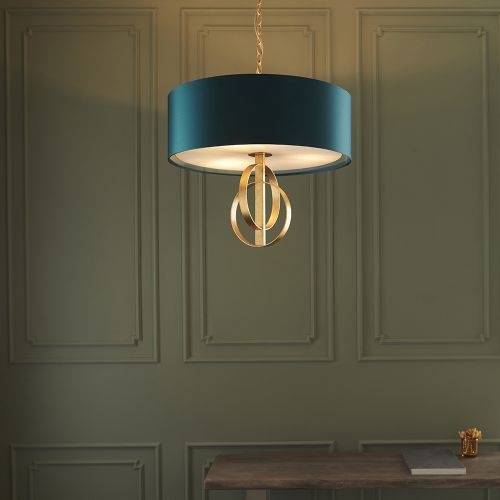 Ceiling Pendant Light Gold Leaf with Large Teal Shade Faro REG/505150