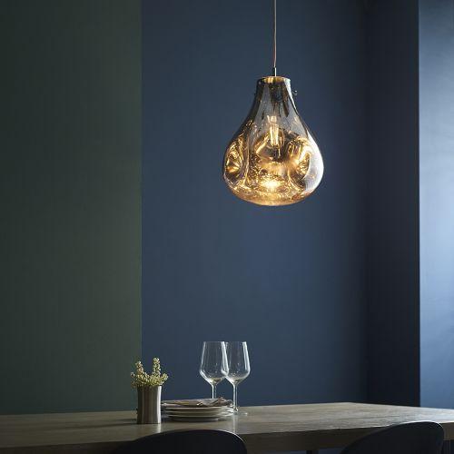 Glass Ceiling Pendant Light Fitting Metallic Chrome Glass Valletta REG/505058