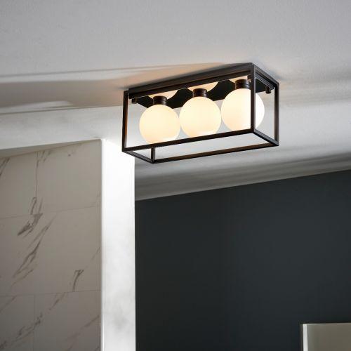 Flush Linear Bathroom Ceiling Fitting IP44 Matt Black Opal Glass Shades Zona REG/505181