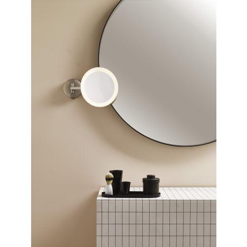 Astro Mascali Round LED Bathroom Magnifying Mirror in Matt Nickel 1373006