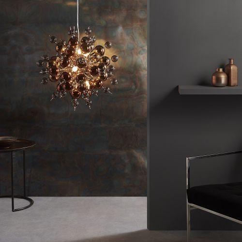 Ceiling Pendant 9 Light Tinted Glass Spheres Copper Rome REG/505009