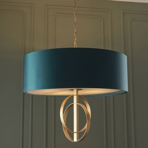 Ceiling Pendant Light Gold Leaf with XL Teal Shade Faro REG/505149