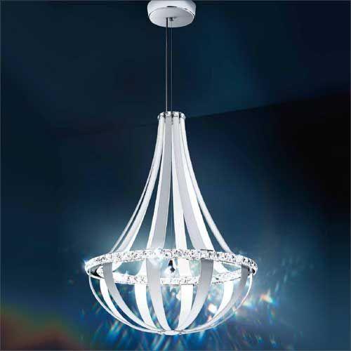 Schonbek Crystal Empire LED Swarovski Crystal Chandelier White Leather Frame SCE130DE-LW1S