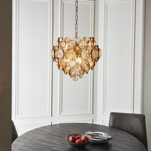 Ceiling Pendant 6 Light Antique Gold and Amber Glass Albi REG/505072