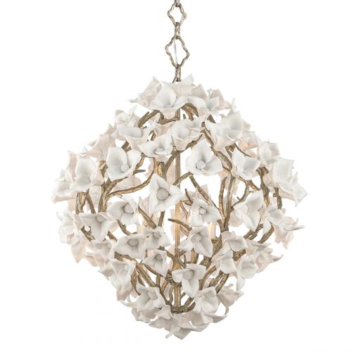 Large Ceiling 6 Light Pendant Silver Leaf Corbett Lily 211-46-CE